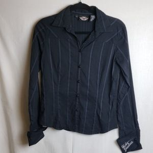 Harley-Davidson Striped Shirt Button Front Small